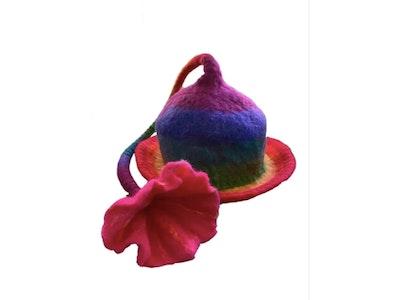 SparksJoi Unique Handmade Felt and flower tail Funky Festival Hat