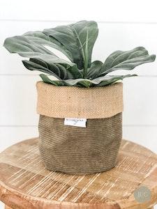 Pot Plant Cover - Cruze Khaki Corduroy and Hessian Reversible