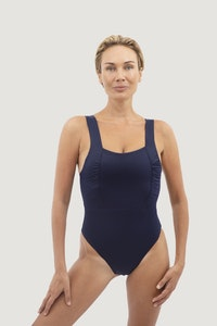 1 People Saint Tropez Ruffled One-Piece Swimsuit in Deep Sea Blue
