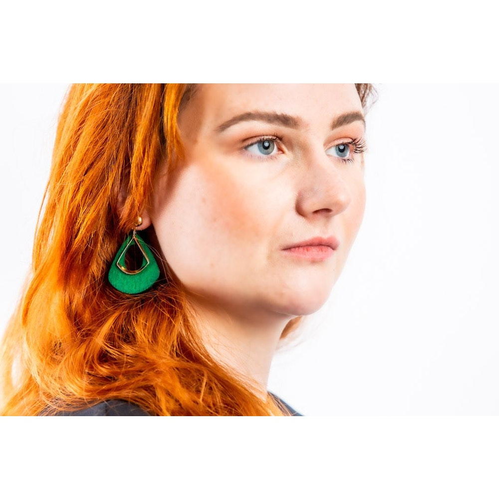 One of a Kind Club Green And Brass Dangle Earrings