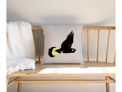 Bev the Black Cockatoo Cushion Cover in Linen / Cotton