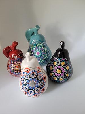 Divine Dotting Ceramic pears hand painted Dot Art