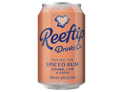 Reeftip Spiced Rum with Ginger Lime & Soda Can 330mL