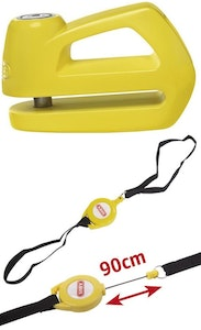 ABUS disc brake bike lock keyed with a 10mm pin in yellow