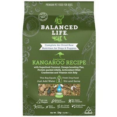 BALANCED LIFE Premium Air Dried Raw Kangaroo Recipe for Dog Puppy - 2 Sizes