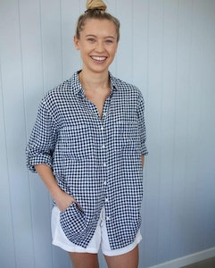Linen Boyfriend Shirt Navy White Small Gingham