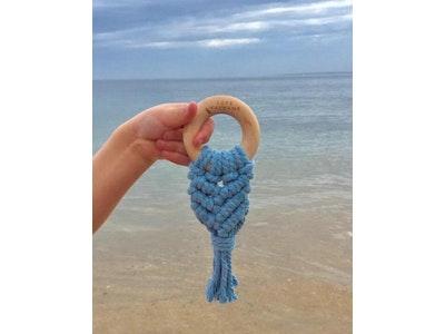 Bubba Bump Baby Ocean Blue Macrame Teether