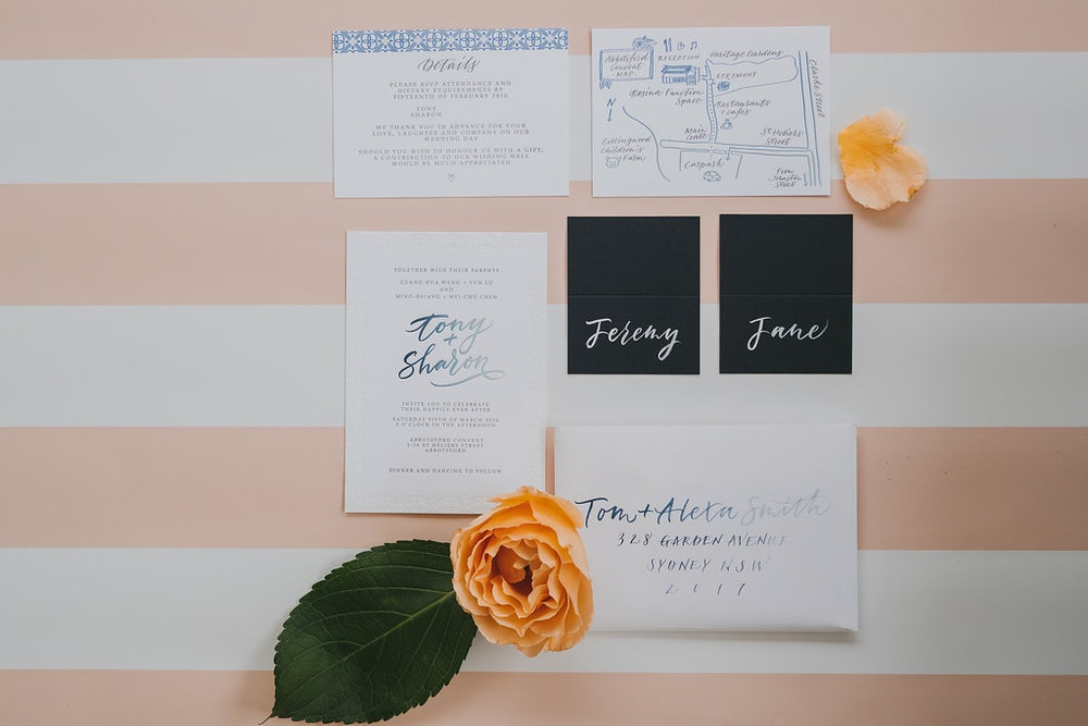 LENZO Sydney Engagement Party Stationery Tympan Ink