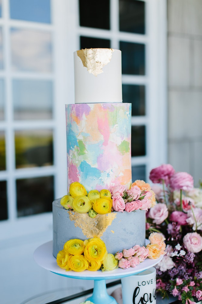Bride and Stork Rainbow Wedding Cake LENZO