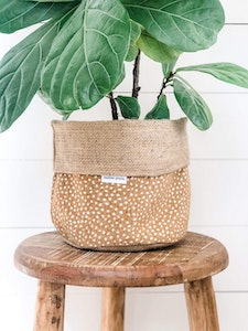 Pot Plant Cover - Fawn Spot and Hessian Reversible
