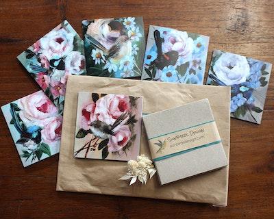 Sunbirds Design Wrens and Roses 6 Card Set