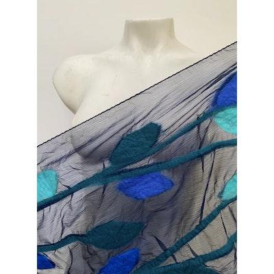 SparksJoi  Navy blue Leaf Nuno Felt Silk Scarf