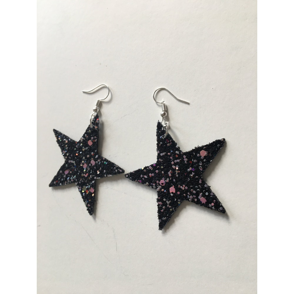 One of a Kind Club Pink And Black Glittery Star Shaped Earrings