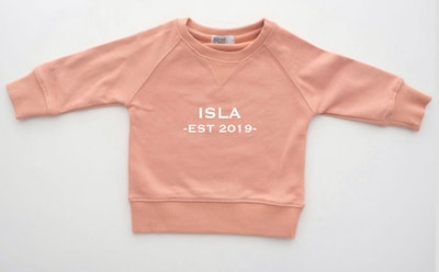Personalised Name EST Sweater - Dusty Pink