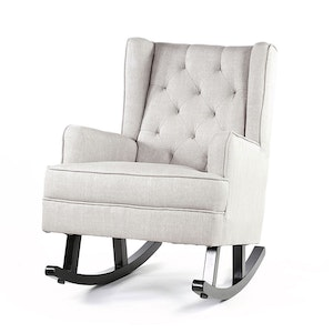 Isla Wingback Rocking Chair Taupe with Black Legs