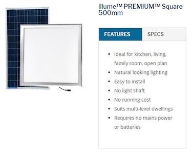 Sky Lights 500mm Square Solar Powered LED Kimberley Illume