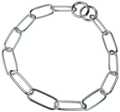 Herm Sprenger Fursaver Long Links 4.0MM Check Chain - CHROME - Chain Length - 54cm,  59cm, 63cm,72cm, 76cm, 80cm, 84cm
