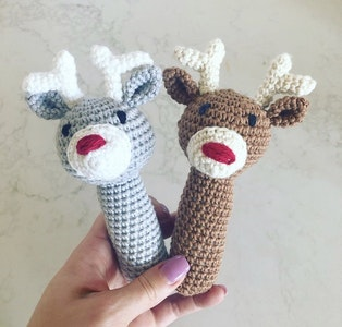 Hand Crocheted Reindeer Rattle