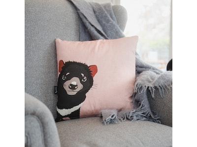 Trevor the Tasmanian Devil Cushion Cover in Dusty Pink