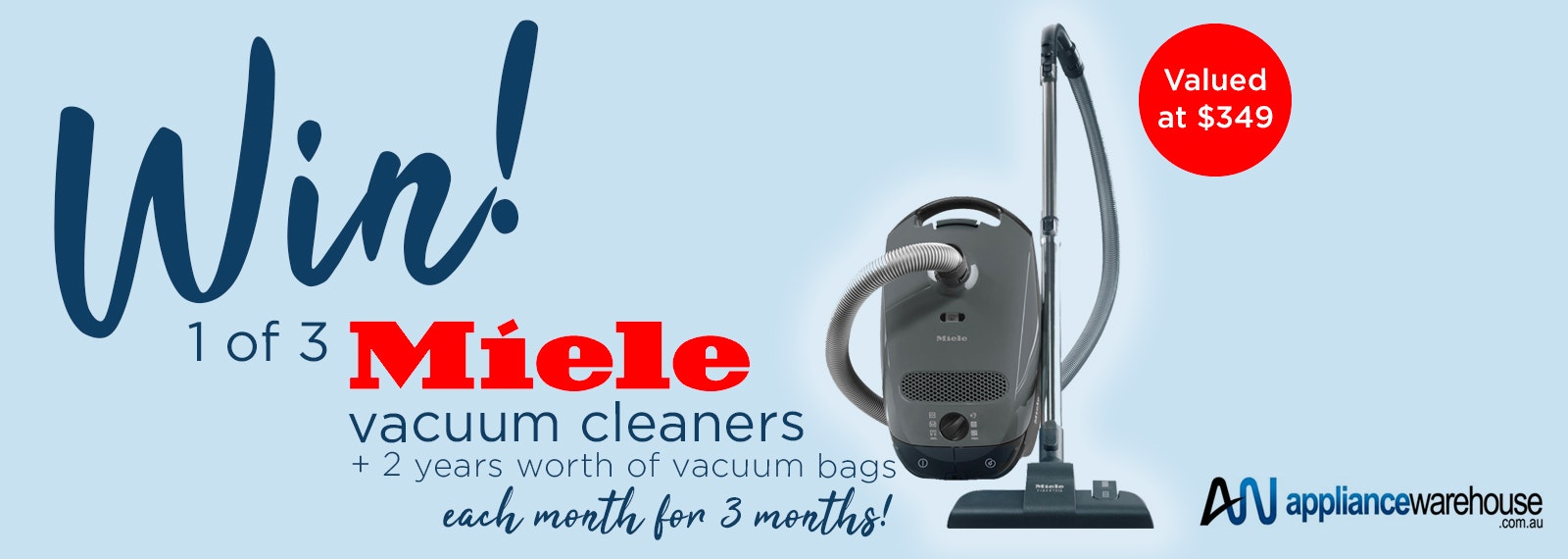 Win a Miele Vacuum Cleaner Each Month for Three Months PLUS 2 Years Supply of Vac Bags from Appliance Warehouse