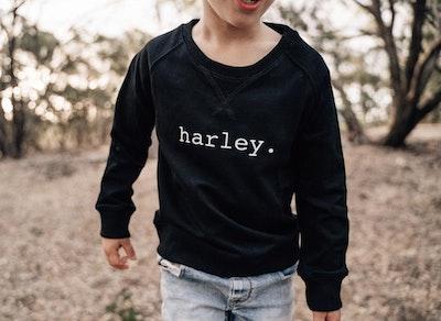 Personalised Name Sweater Black - Plain Font