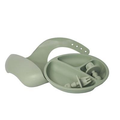 The Scandi Baby Co 4pcs Silicone Baby Feeding Set, Eco Friendly, Non Toxic, Plate, Bib, Cutlery, Dishwasher Safe, Micorwave Safe