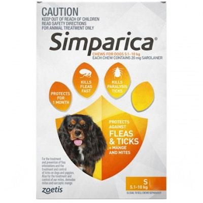 SIMPARICA 5.1-10kg Small Dog Tick & Flea Chewable Treatment - 2 Sizes