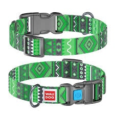 WauDog by the Collar Company Waudog Nylon Dog Collar -Etno-Green- Sizes: X-Small, Small, Medium, Large