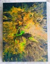 Original Paint Poured Artwork- Volcano Furry $180.00