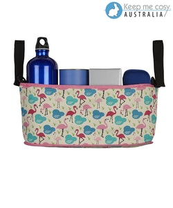 Keep Me Cosy™ Pram Organiser or Cup & Phone Holder - Flamingo