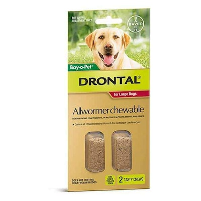 Drontal Chewable Wormer Large Dog 2 Pack