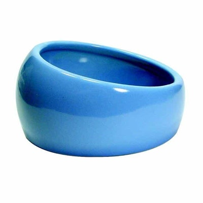 Living World Ceramic Ergonomic Pet Dish  Blue 120ml