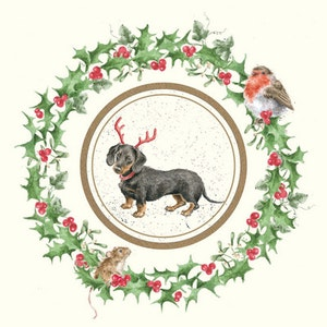 Dachshund Through The Snow, Deck The Halls Card