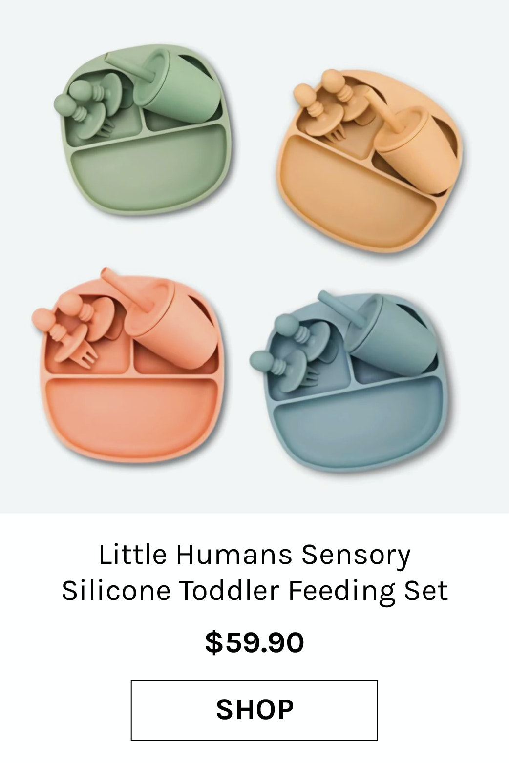 Little Humans Sensory Silicone Toddler Feeding Set with Smoothie Cup