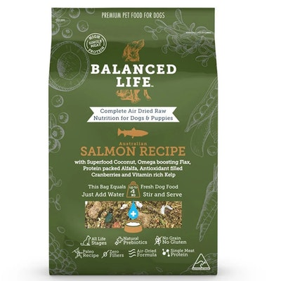 BALANCED LIFE Air Dried Raw Salmon Recipe for Dogs & Puppies - 2 Sizes