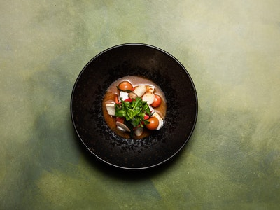 Tom Yum of Market Fish, Baby King Brown Mushrooms, Cherry Tomatoes