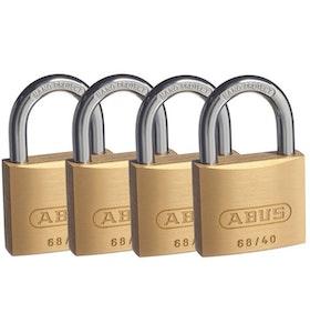 ABUS 6840 Keyed Alike Brass Padlocks 4 Pack