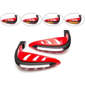 Red LED Hand Guards with Integrated Daytime Running Lights/Indicators - White/Amber