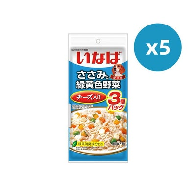 INABA CIAO Pouch For Dog- Chicken Fillet Cheese And Vegetables Value Pack 5PK x 60G X 3
