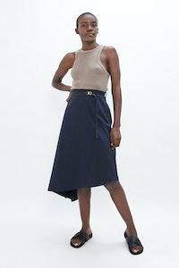 1 People Mallorca Organic Cotton Twill Asymmetric Skirt in Summer Night Blue