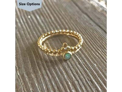 Single Gold Crown & Opal Ring Stack
