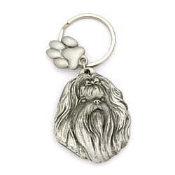 Key Companions Solid Fine Pewter Shih Tzu with Paw Keychain