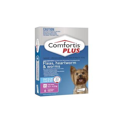 COMFORTIS PLUS Pink Flea & Worming Tablets 2.3-4.5kg Dog 6 Pack