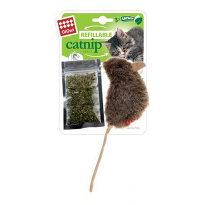 GIGWI Refillable Catnip Mouse Natural Cat Toy