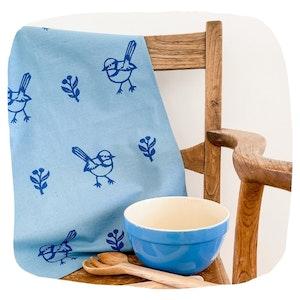 Organic Blue Wren Tea Towel