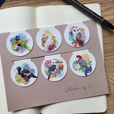 Watercolour by Cat Set of 6 Australian Birds Magnetic Bookmark