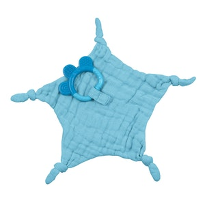 green sprouts Muslin Blankie Teether made from Organic Cotton-Aqua-3mo+