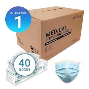 MedSense EN14683 Type I Disposable Medical Face Masks with Ear Loops - Carton of 40 boxes (ARTG No.: 340295)