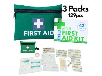 Boutique Medical 3x Mini First Aid Kit 129pcs Emergency Medical Travel Pocket Set Family Home Car Treatment