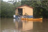 BRTP boatshed floats in the flood